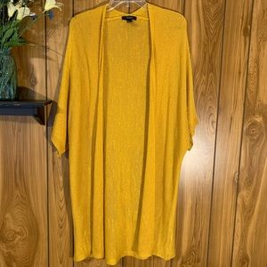 Forever 21 Cardigan Short Sleeve Mustard Yellow